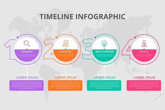 Zeitleiste infografik in flaches design Kostenlosen Vektoren