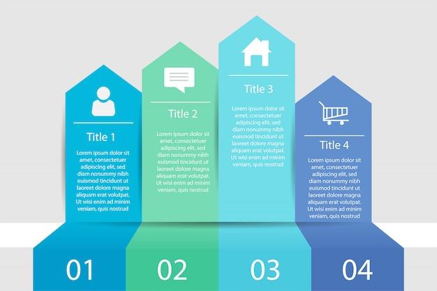 Zeitleiste infografik vier-schritt-geschäft, infografik daten Premium Vektoren