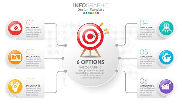 Zeitleiste infografik vorlage mit pfeilen und optionen flaches design Premium Vektoren