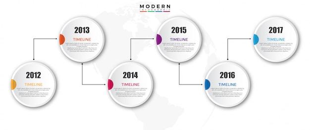 Zeitleiste infografiken vorlage mit jahr Premium Vektoren