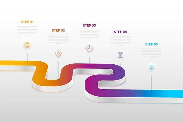 Zeitleiste infographik im farbverlauf Kostenlosen Vektoren