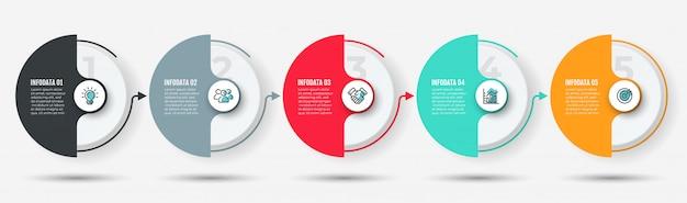 Zeitleiste mit 5 optionen, schritten, prozessen Premium Vektoren