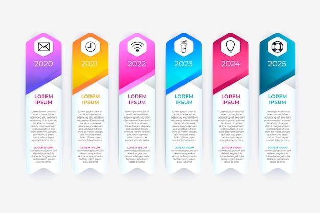 Zeitleiste mit farbverlauf infografik Kostenlosen Vektoren