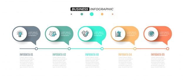 Zeitleistenelemente mit 5 schritten, beschriftungen und marketing-symbolen. Premium Vektoren