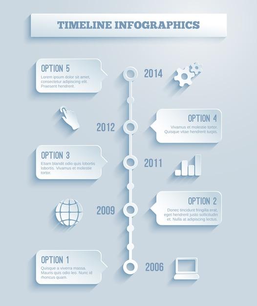 Zeitlinien-infografiken-vektorvorlage mit einem papiereffekt, der eine reihe von fünf optionen in textfeldern zeigt, die sich über mehrere jahre erstrecken Kostenlosen Vektoren