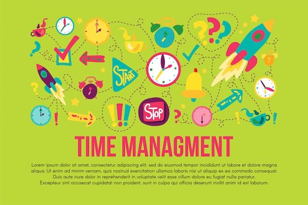 Zeitmanagement-aufkleber festgelegt festgelegt Premium Vektoren