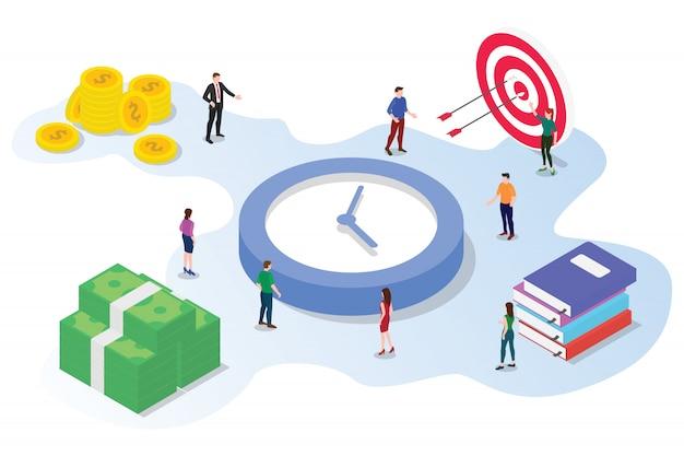 Zeitmanagement-einsparungskonzept mit den teamleuten, die isometrisches 3d zusammenarbeiten Premium Vektoren