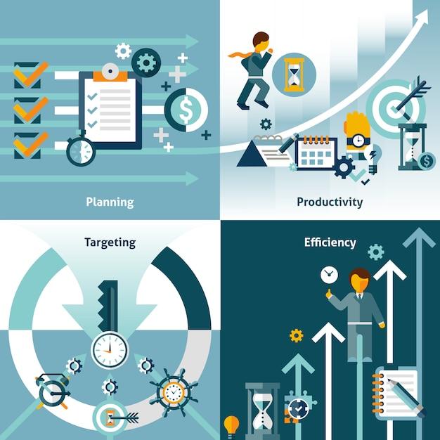 Zeitmanagement flache elemente zusammensetzung Kostenlosen Vektoren