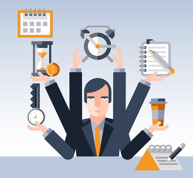 Zeitmanagement geschäftsmann Kostenlosen Vektoren