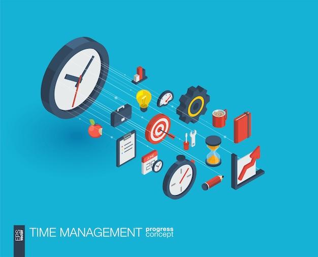 Zeitmanagement integrierte web-symbole. isometrisches fortschrittskonzept für digitale netzwerke. verbundenes grafisches linienwachstumssystem. abstrakter hintergrund für geschäftsstrategie, plan. infograph Premium Vektoren