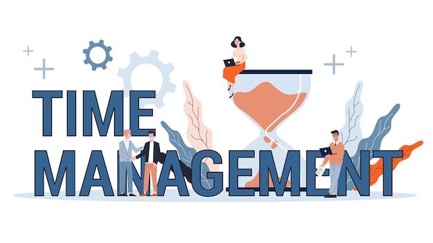 Zeitmanagement-konzept. idee von zeitplan und organisation. produktive tages- und arbeitsoptimierung. web-banner. illustration Premium Vektoren