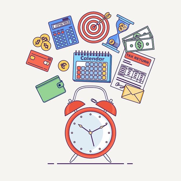 Zeitmanagement-konzept. planung, organisation des arbeitstages. wecker, tagebuch, kalender, steuerformular, geld, walet Premium Vektoren