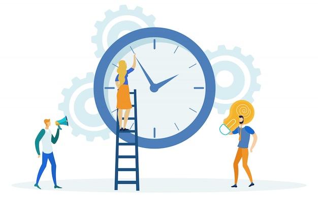 Zeitmanagement, mädchen auf leiter, die zeit ändert. Premium Vektoren