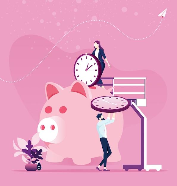 Zeitmanagement-planung. sparen sie zeit konzept Premium Vektoren