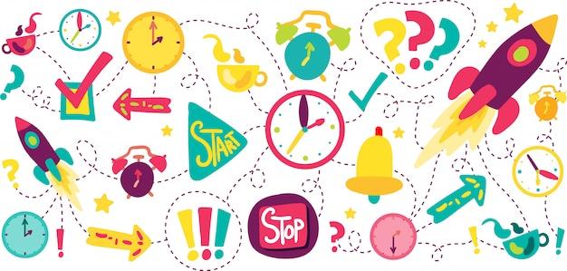 Zeitmanagement-strichlinien-illustrationen eingestellt Premium Vektoren