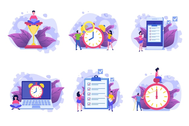 Zeitmanagement-symbolsatz, business scheduling app. Premium Vektoren