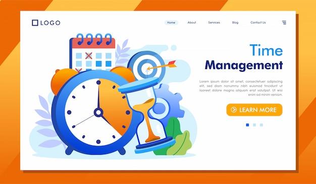 Zeitmanagement-zielseitenwebsite illustrationsvektor Premium Vektoren