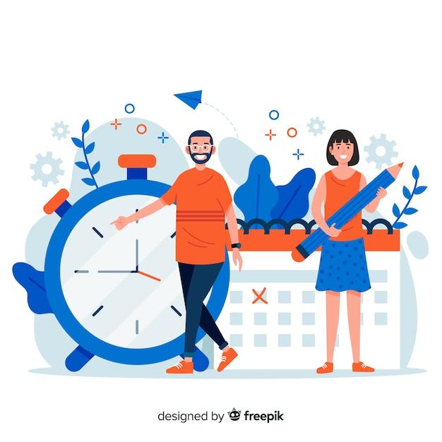Zeitmanagementkonzept für zielseite Kostenlosen Vektoren