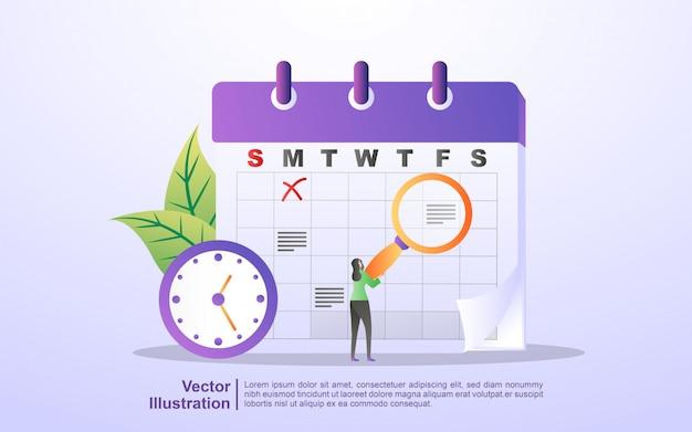 Zeitplan- und planungskonzept, erstellung eines persönlichen studienplans, planung der geschäftszeiten, ereignisse und neuigkeiten, erinnerung und zeitplan Premium Vektoren