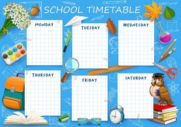 Zeitplanvorlage für die schule, wochenplanertabelle, kalenderplaner für schüler. zurück in die schule, stundenplan veranstalter stundenplan, schultasche, bleistift, notizbuch und aquarelle Premium Vektoren