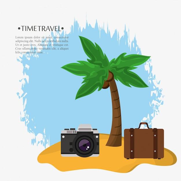 Zeitreise strand koffer foto kamera Premium Vektoren