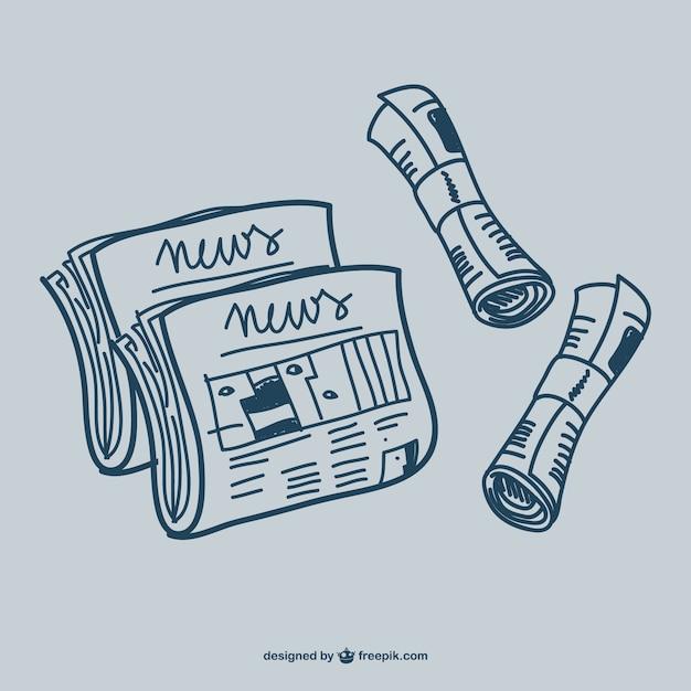 Zeitung doodle grafiken Kostenlosen Vektoren