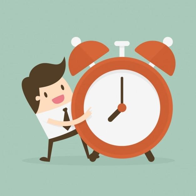 Zeitverwaltung mit mitarbeiter mit wecker Kostenlosen Vektoren
