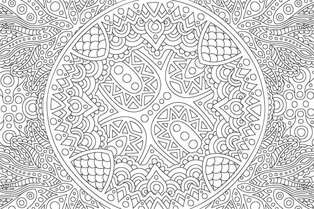 Zenkunst mit linearem schwarzweiss-muster Premium Vektoren