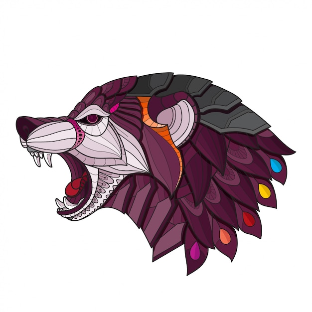Zentangle stilisierter wolfskopf. vektor-illustration Premium Vektoren