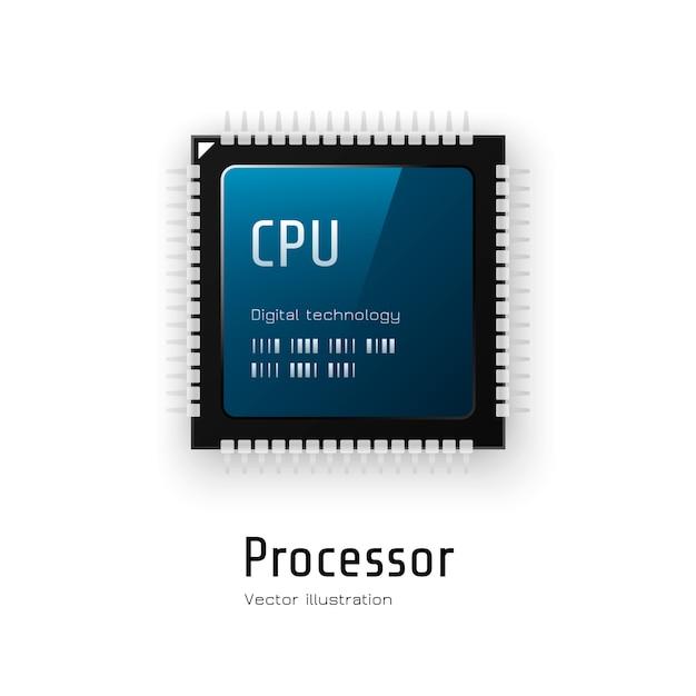 Zentralprozessor. mikrochip-prozessor. Premium Vektoren