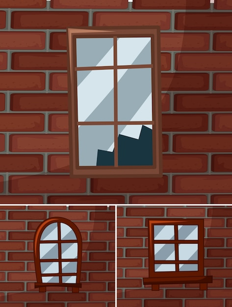 Zerbrochene Fensterscheiben auf den Brickwalls | Download der ...