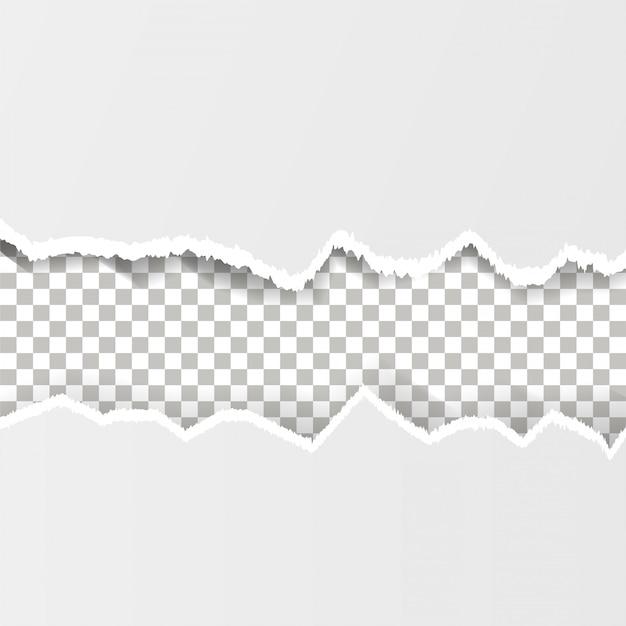 Zerissenes papier auf dem transparenten hintergrund Premium Vektoren