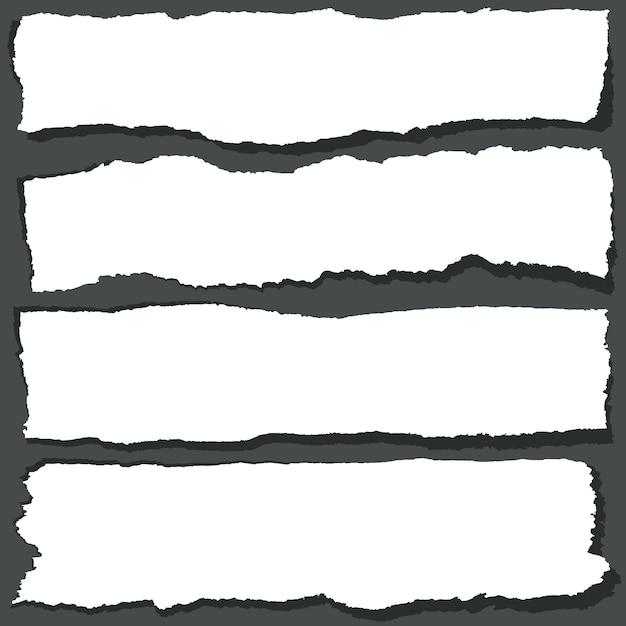 Zerrissene papierbänder mit gezackten kanten. abstrakte gutshofpapierblätter eingestellt Premium Vektoren