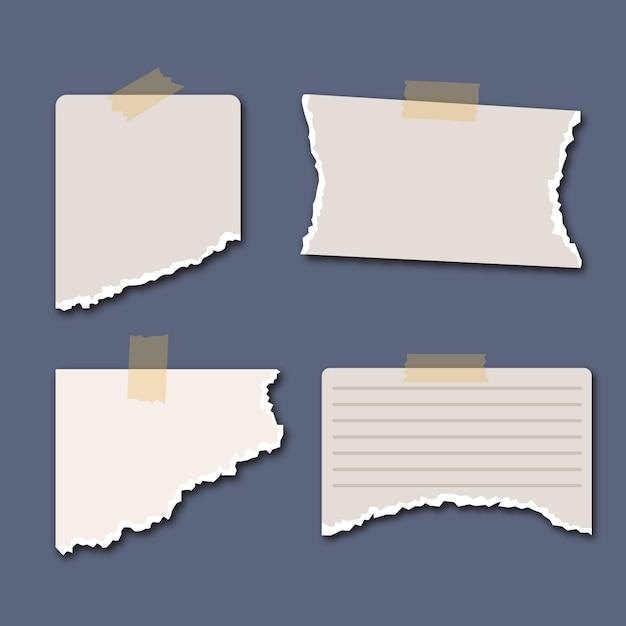 Zerrissene papiersammlung mit klebeband auf blauem hintergrund Kostenlosen Vektoren