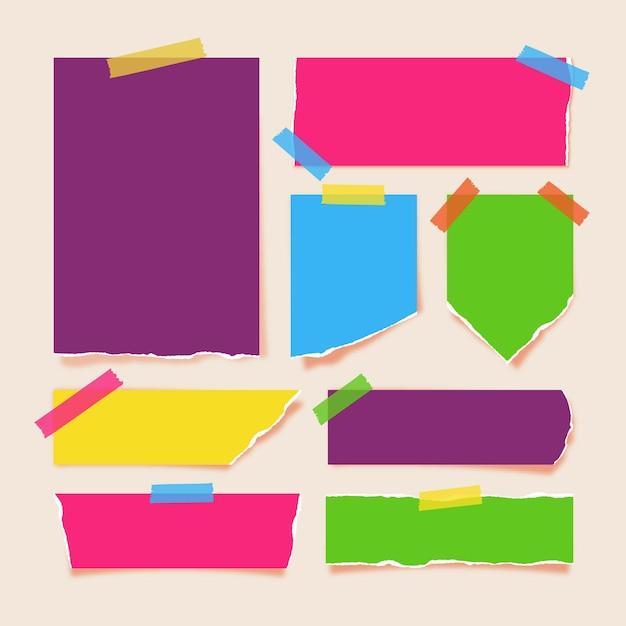 Zerrissene papiersammlung mit klebeband Premium Vektoren