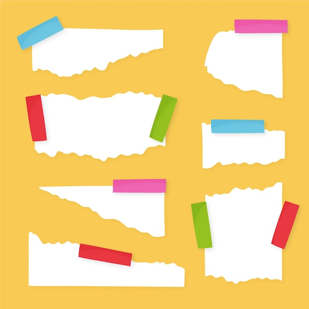 Zerrissene papiersammlung mit klebeband Kostenlosen Vektoren