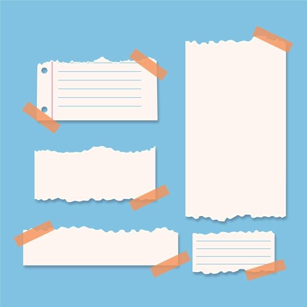 Zerrissene papiersammlung mit klebebandpackung Kostenlosen Vektoren