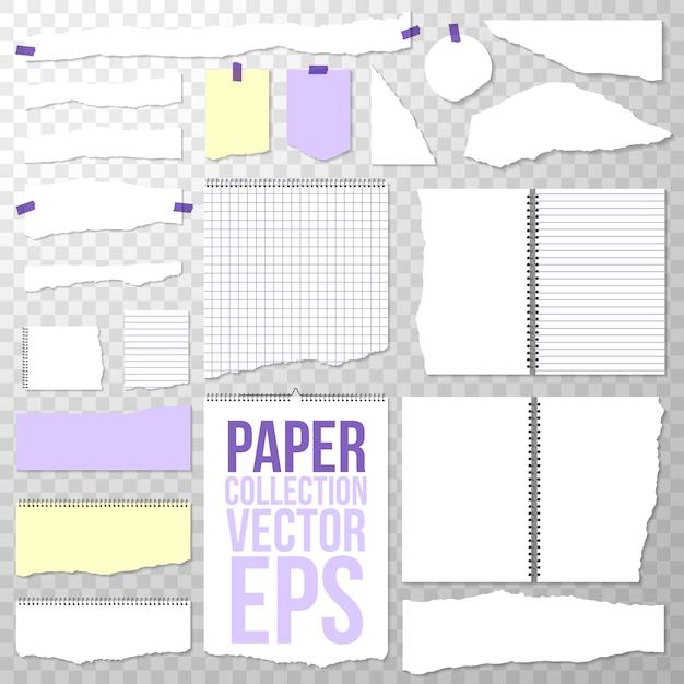 Zerrissene papierstücke aus spiralbindung notebook. saubere oder leere seiten lokalisiert auf transparentem. binder papers abgerissen Kostenlosen Vektoren