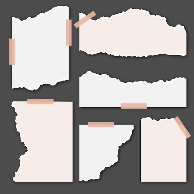Zerrissene weiße papiere mit klebeband Kostenlosen Vektoren