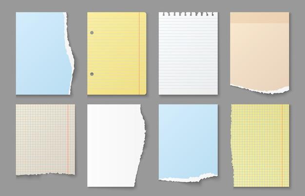 Zerrissenes notizbuchpapier. zerrissene kanten von notizblättern, farbige leere papiernachrichten und erinnerungsaufkleber, verschiedene papelstreifen, listenformsatz Premium Vektoren