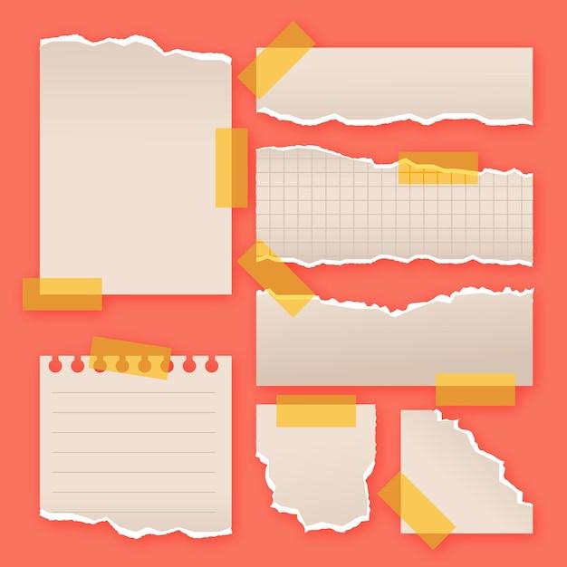 Zerrissenes papier in verschiedenen formen sammlung Kostenlosen Vektoren
