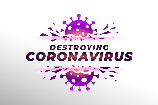 Zerstörung des coronavirus-hintergrunds Premium Vektoren