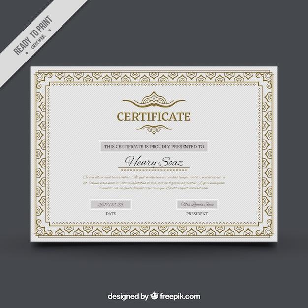 Zertifikat der leistung mit zierrahmen Kostenlosen Vektoren