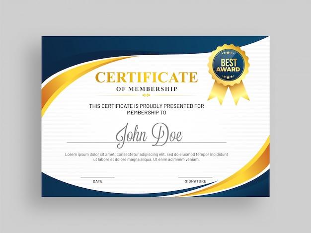 Zertifikat der Mitgliedschaftsschablone mit blauem und goldenem ...