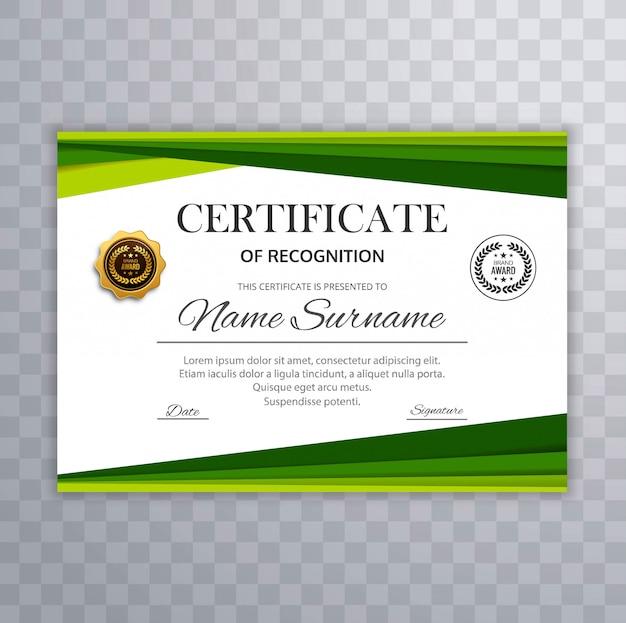 Zertifikat mit grünem wellengestaltungselementvektor Kostenlosen Vektoren