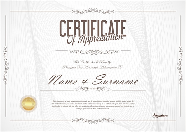 Zertifikat oder diplom retro-design Premium Vektoren