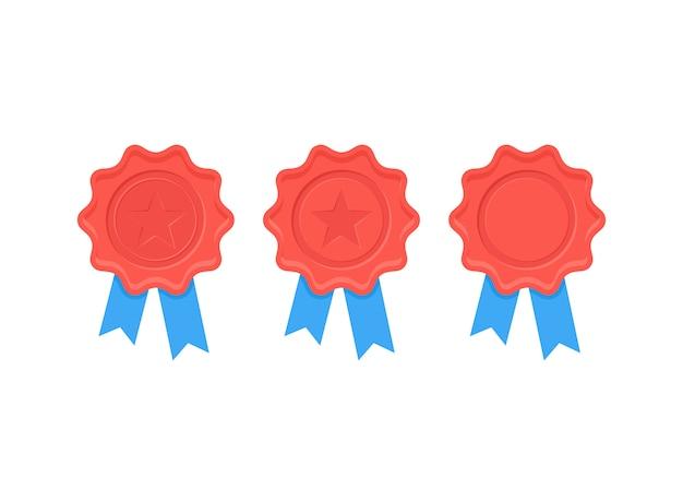 Zertifikat wachssiegel. illustration. flaches design. Premium Vektoren