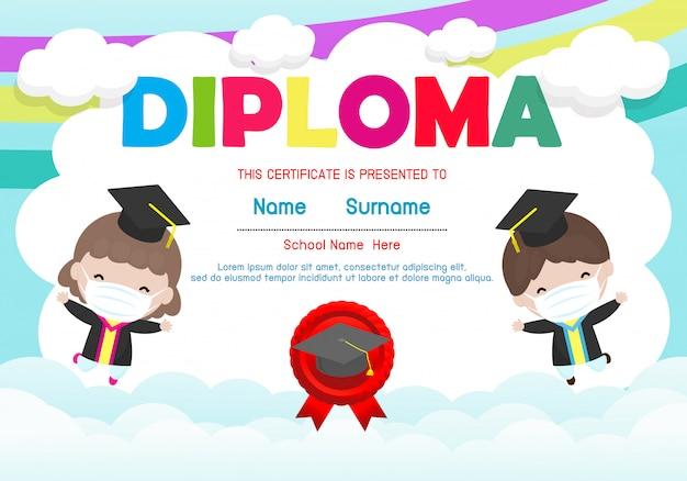 Zertifikate kindergarten und grundschule, preschool kids diploma zertifikat hintergrund design-vorlage Premium Vektoren