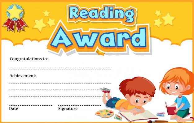 Zertifikatschablone für das lesen des preises mit den kindern, die im hintergrund lesen Premium Vektoren