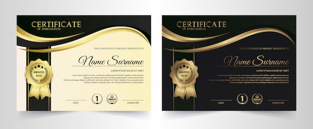 Zertifikatschablone mit luxus und modernem muster, diplom, vektorillustration Premium Vektoren